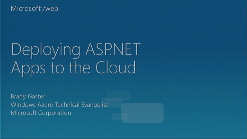 Deploying Web Apps to the Cloud