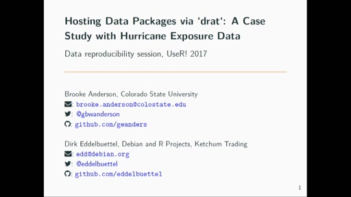 Hosting Data Packages via `drat`: A Case Study with Hurricane Exposure Data