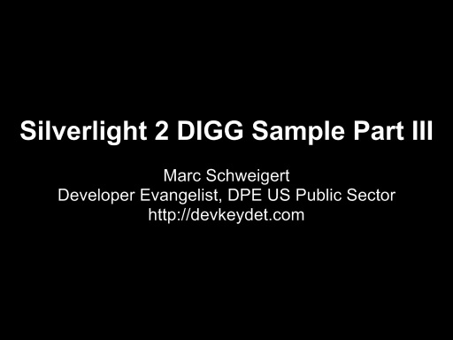 Silverlight 2 DIGG Sample Part III