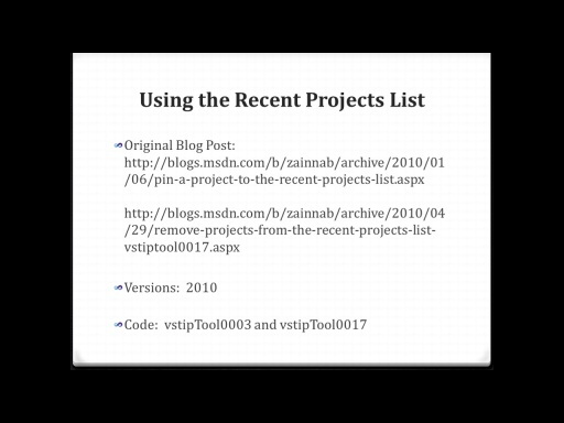 Using the Recent Projects List