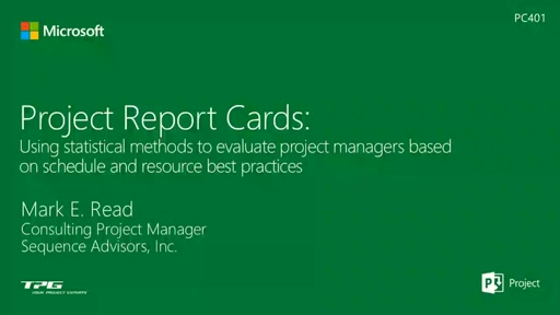 Project Report Cards - Using Statistical Methods to evaluate Project Managers based on Schedule and Resource best practices