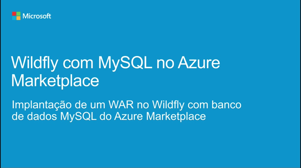 Wildfly com MySQL no Azure Marketplace