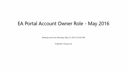 EA Portal Account Owner Role - May 2016