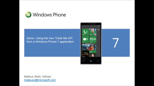 Windows Phone 7 Trade Me Developer Starter Kit