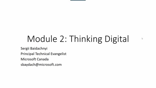 Module 2: Thinking Digital (part 1)