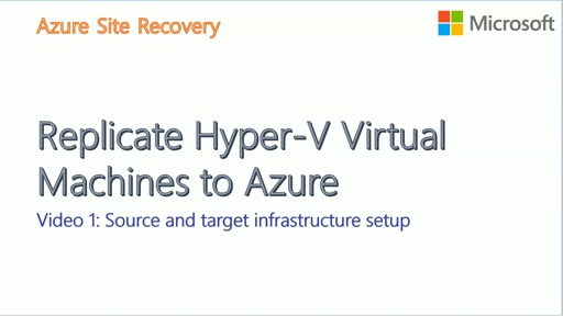 Hyper-V to Azure with ASR - Video1 - Infrastructure Setup