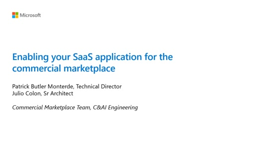 Enabling your SaaS application for the commercial marketplace