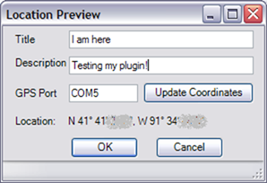 Location Preview dialog