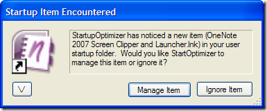 Startup Item Encountered