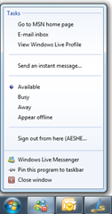 Jump list for Windows Live Messenger