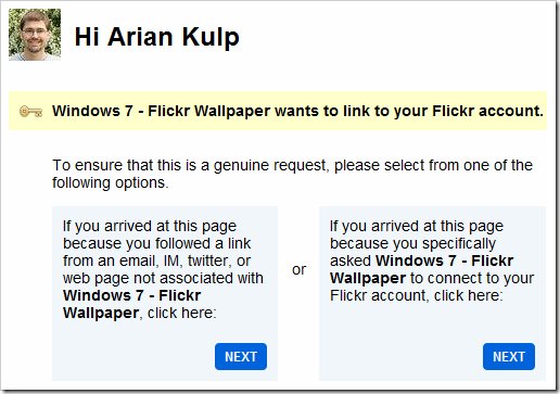 Flickr Authorization