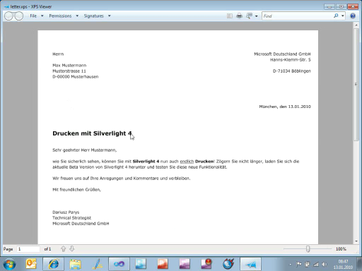 Silverlight 4 Features: Drucken