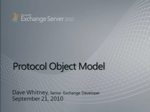Exchange Protocol Object Model
