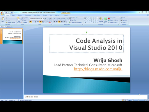 Code Analysis Using Visual Studio 2010