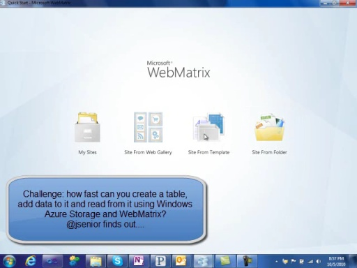 Get Windows Azure Storage working in WebMatrix in 3 minutes