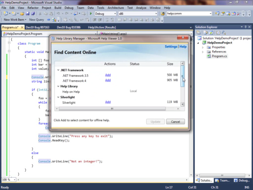 Microsoft Help Viewer - New Help System in Visual Studio 2010