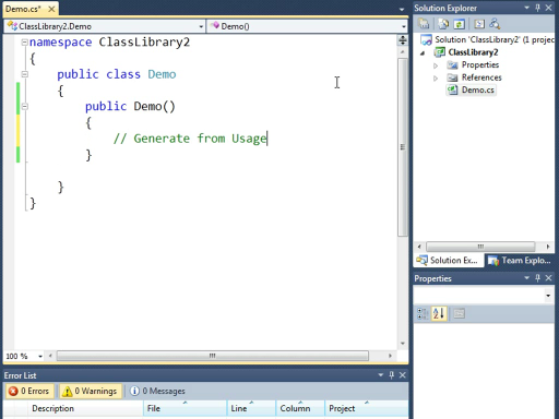 VS 2010 Quick Hit: Generate from Usage