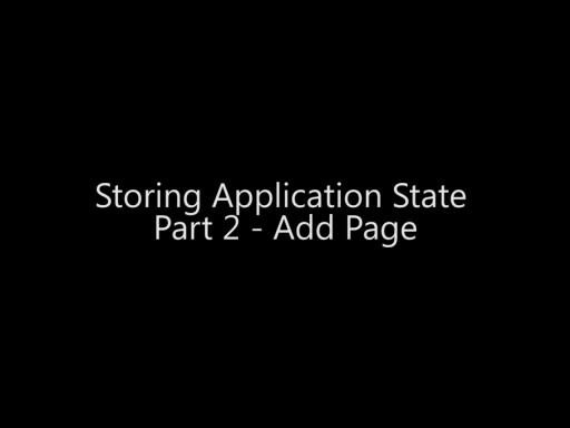 Storing Application State Part 2 - Add Page - Day 4 - Part 15