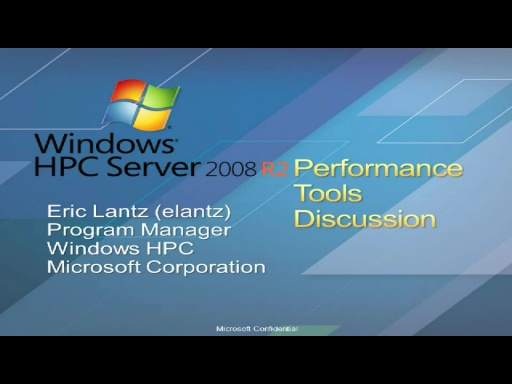 Performance Tools for Windows HPC Server 2008R2