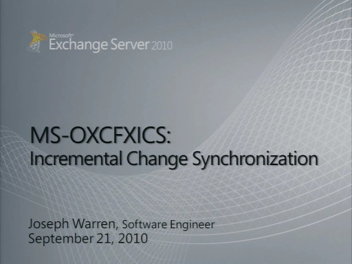 Exchange Incremental Change Synchronization (ICS)