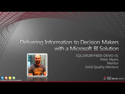 Demo: Delivering Information to Decision Makers with a Microsoft BI Solution