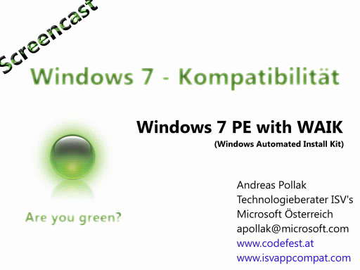 Windows 7 Compatiblity Screencast: WinPE Image erstellen