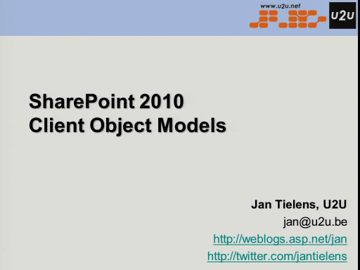 BIWUG session: SharePoint 2010 Client Object Model