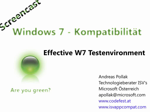 Windows 7 Compatiblity Screencast: Effective Windows 7 Testumgebung aufbauen