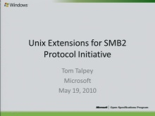 UNIX Extensions for SMB2 Protocol Initiative 2010
