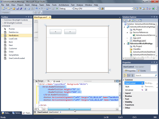 Binding Silverlight Controls to a Data Service in Visual Studio 2010 Beta 2