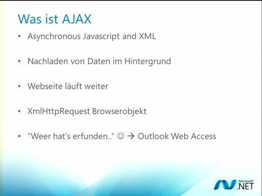 ASP.NET Webcast Teil 6: ASP.NET Ajax - Webapplikationen mit besserer User Experience