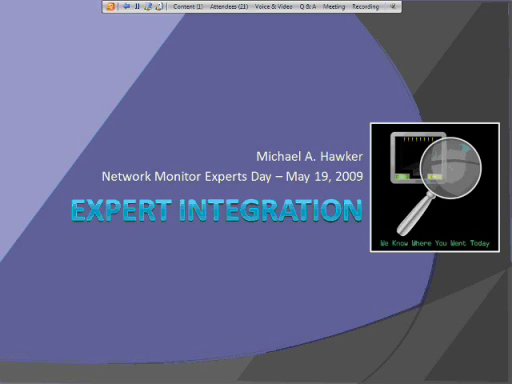 Microsoft Network Monitor Experts Day: Part 6 - Expert Integration