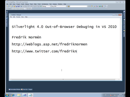 Debugging Silverlight 4 Out Of Browser applications in Visual Studio 2010