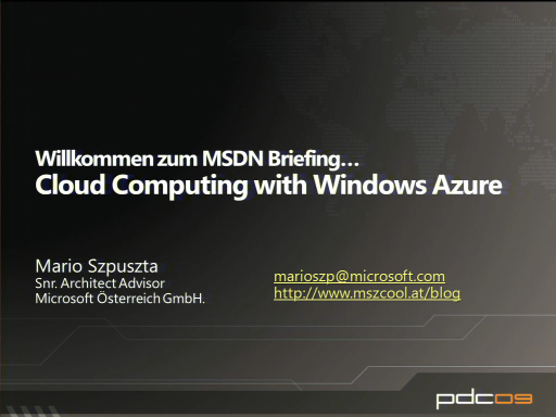 MSDN Briefing mit Windows Azure Teil 1
