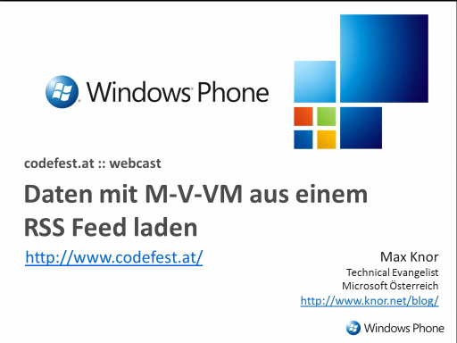 Windows Phone 7: Model - View - ViewModel für RSS Reader