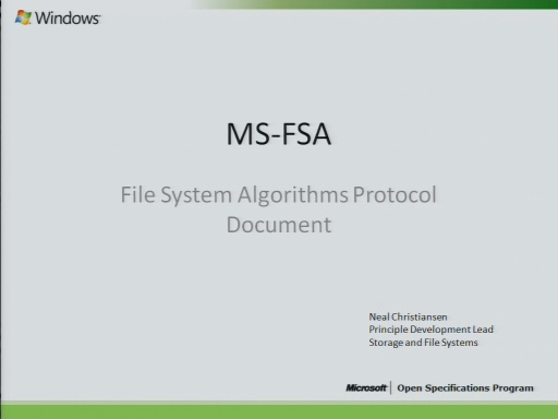 File Systems Algorithms (MS-FSA) Presentation 2010