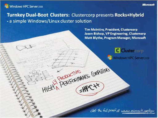 Turnkey Dual-Boot Clusters: Clustercorp presents Rocks+Hybrid - a simple Windows/Linux Cluster solution