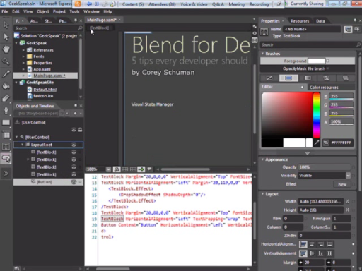 geekSpeak Recording - Five Key Developer Features in Expression Blend with Corey Schuman