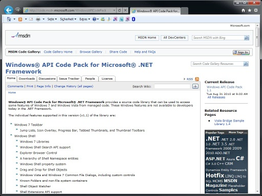 Windows 7: Windows API Code Pack