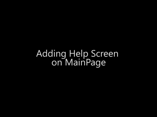 Adding Help Screen on MainPage - Day 4 - Part 13
