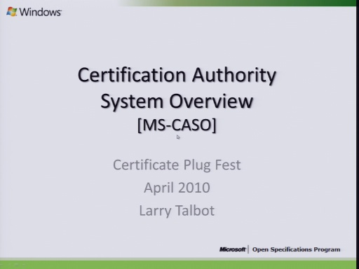 Certification Authority System Overview (MS-CASO)  2010