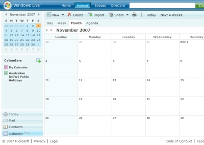 Windows Live Calendar Launches