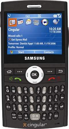 The Samsung BlackJack for Cingular: QWERTY keyboard and 3G music downloads in your pocket