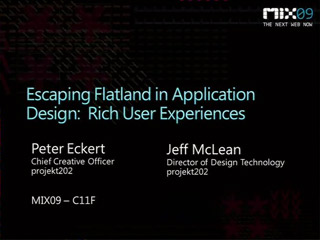 Escaping Flatland in Application Design: Rich User Experiences