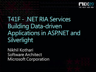 .NET RIA Services - Building Data-Driven Applications with Microsoft Silverlight and Microsoft ASP.NET