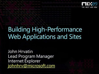 Building High Performance Web Applications and Sites