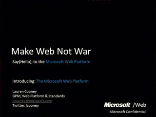 Introducing the Microsoft Web Platform