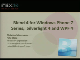 Authoring for Windows Phone, Silverlight 4 and WPF 4 with Expression Blend