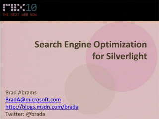 Search Engine Optimization for Microsoft Silverlight