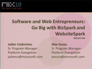 Software and Web Entrepreneurs: Go Big with BizSpark and WebsiteSpark